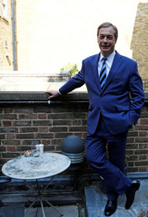 The former leader of Britain's UK Independence Party (UKIP), Nigel Farage poses for a picture during an interview, in London
