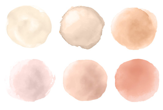 A set of watercolor round brush strokes on white background. Skin tone palette