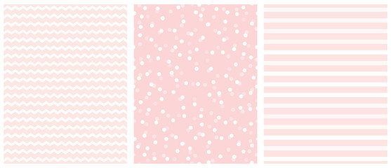 Cute White and Pink Geometric Seamless Vector Pattern Set. Polka Dots, Tiny Chevron and Vertical Stripes on a Light Pink Background. Lovely Pastel Color Infantile Repeatable Design.