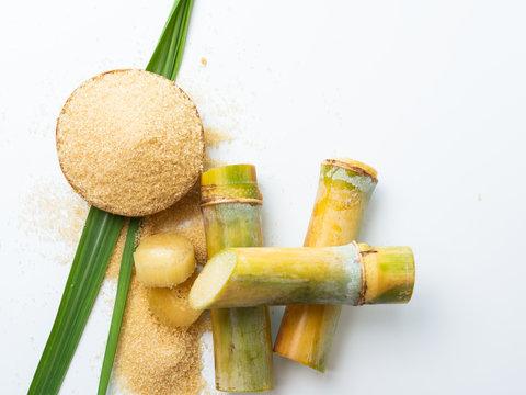 sugar cane and leaf with brown sugar