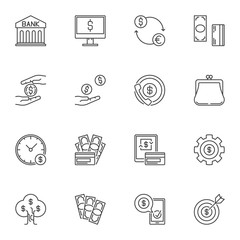 Money concept vector icons or symbols in thin line style