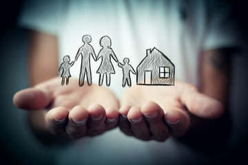 Family care and protection insurance concept Wall mural