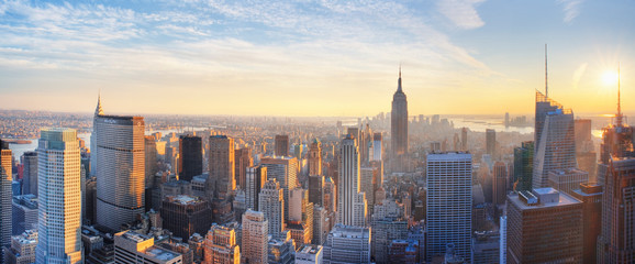 Panoramic panoramic view of Empire State Building and Manhattan skyline at sunset new york city new york usa