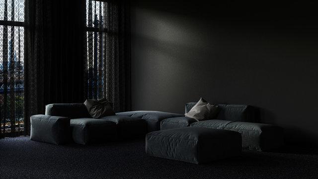 Living room interior at night