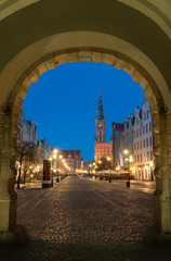 Long Lane or Dlugi Targ at night, Gdansk, Poland. Traditional houses and the City Hall.
