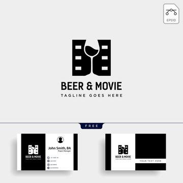 beer glass movie wine cinema simple creative badge logo template vector illustration