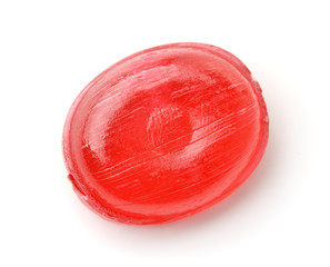 Top view of red hard candy