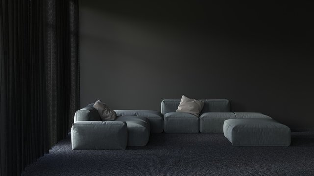 Shadowy darkened living room interior