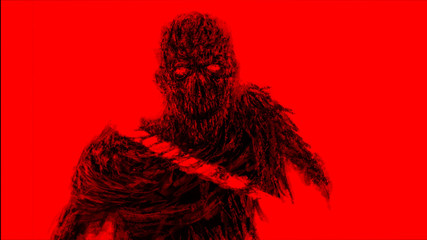 Chopped by sword zombies monster. Red background color.
