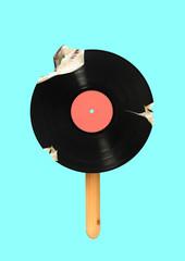 An alternative icecream. Meloman wanna bite a piece of immortal music. Vinyl record formed icecream...