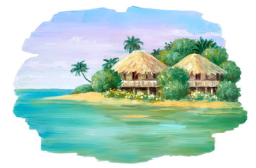 Oil painted bungalow on the beach