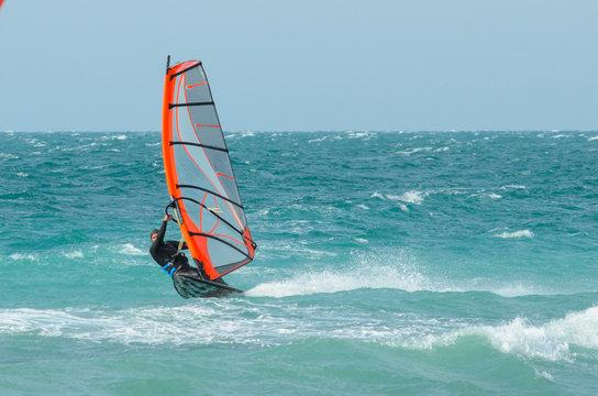Windsurfer rides in the Black sea. Anapa, Russia