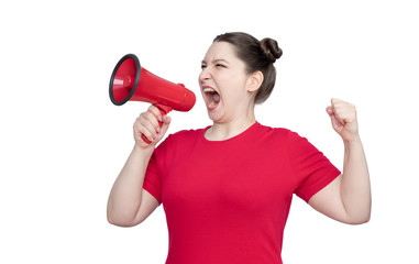 Young girl activist in a red t-shirt screaming into a megaphone, isolated on white background