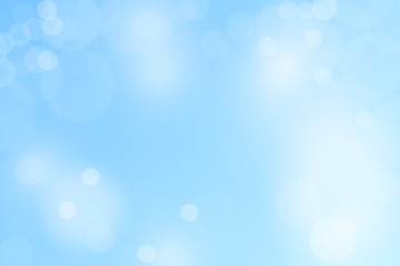 Abstract Winter Background with Variable Snowflakes and Blue Background Color