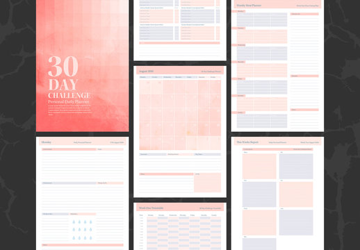 Personal Planner Layouts with Pink, Textured Accents