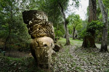 Lost pillar in Preah Khan temple, Angkor, Cambodia