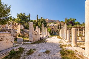 Fototapete - Roman Agora in summer, Athens, Greece. It is an old landmark of Athens. Scenic view of Ancient Greek ruins in the Athens center near Plaka. Panorama of the remains of the antique Athens city.