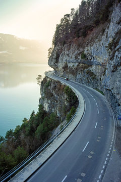 road in the mountains, lake thun, switzerland