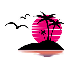 Island in the ocean, tourist trip, gulls, palm trees, sunset. beautiful island in the ocean. Vector image of the island. Travel illustration, paradise