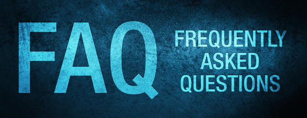 FAQ frequently asked questions special blue banner background