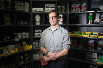 Joshua Mandelbaum, Executive Director of educational nonprofit 826NYC poses for a portrait in the Brooklyn Superhero Supply Co. store in the Brooklyn borough of New York