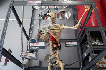 A skeleton is displayed with cyborg parts in it at the Brooklyn Superhero Supply Co. store in the Brooklyn borough of New York