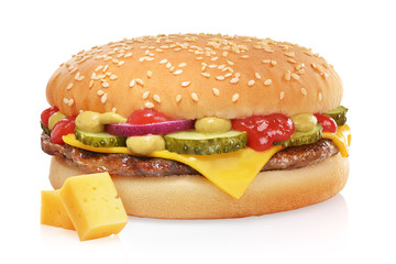 Fototapeta Classic cheeseburger isolated on white obraz