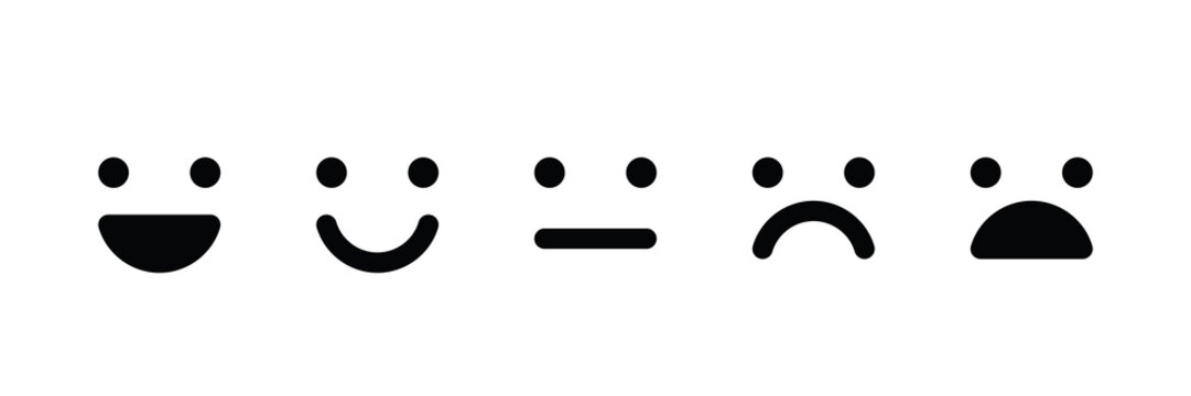 Basic emoticons set. Five facial expression of feedback - from positive to negative. Simple black vector icons