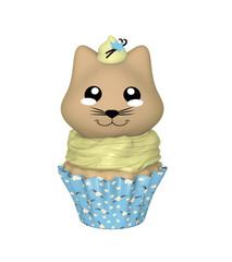 Vanille Cupcake mit Kätzchen im Kawaii Stil. 3d Render