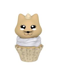 Haselnuss Cupcake mit Kätzchen im Kawaii Stil. 3d Render