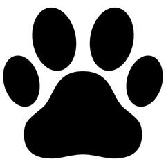 Black dog paw print vector illustration