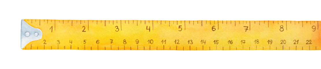 Yellow measuring tape watercolor illustration. Dual scales for metric and imperial units. One single object, above view. Hand drawn water color graphic painting on white, cut out element for design.