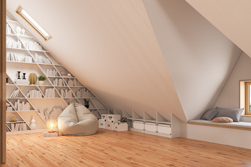 3d render interior design of the attic floor of a private cottage