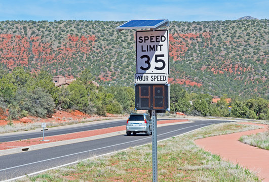 Motorists ignore speed limit signs on State Route 179 in Sedona, Arizona.