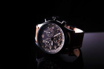 watch expedition arrow with brown leather strap
