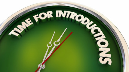 Time for Introductions Meeting Greeting Clock 3d Illustration