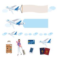 飛行機 旅行 イメージ イラスト セット