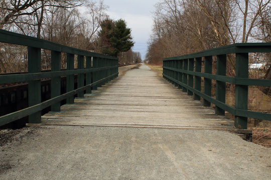 Green Wooden Foot Bridge