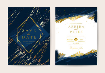 Fotobehang - Wedding Invitation, Thank you card, rsvp, posters design collection. Trendy indigo blue and white Marble background texture - Vector