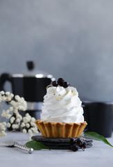 mini cake with meringue of shortbread dough for dessert