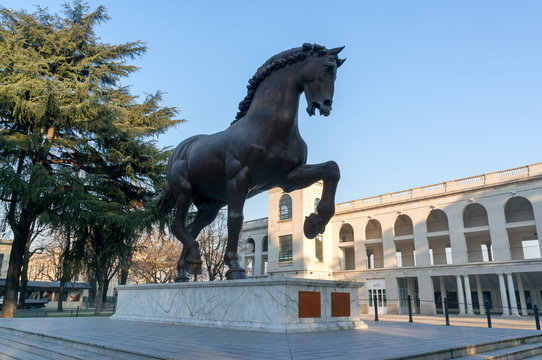 Sculpture of a horse by Leonardo Da Vinci at the old hippodrome in the San Ser region, in Milan, Italy.
