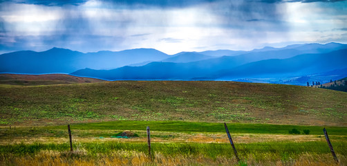 Printed roller blinds Gray traffic nature and scenes around flathead national forest montana