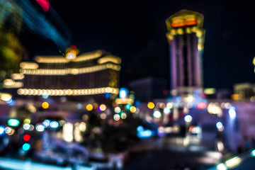 las vegas city streets and lights bokeh defocused effect