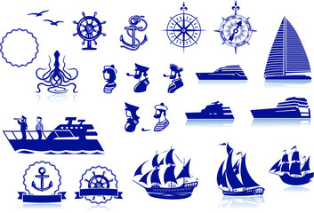 Set of various marine emblem silhouettes Wall mural