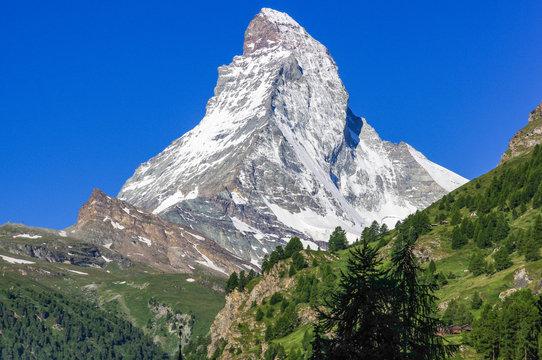 Summer alpine landscape with the Matterhorn (Cervino) in the Swiss Alps, near Zermatt, Switzerland, Europe