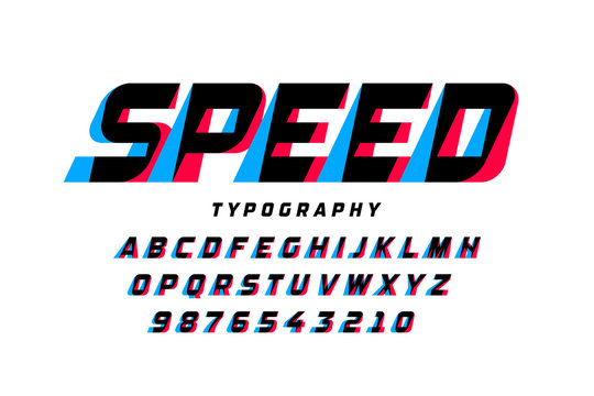 Speed style font, alphabet letters and numbers