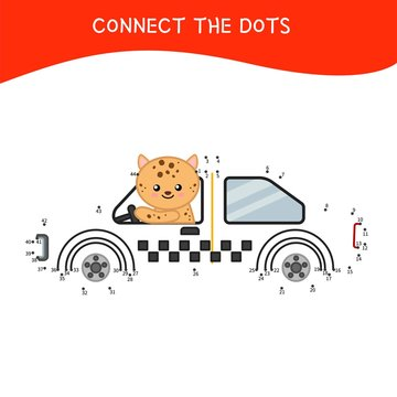 Educational game for kids. Dot to dot game for children. Cartoon leopard in a taxi.