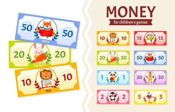 Vector set of paper money for children's games. Cute cartoon animals. Learning material for kids.