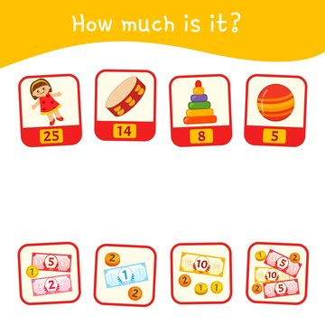 Counting educational children game, math kids activity sheet.  How much is it?