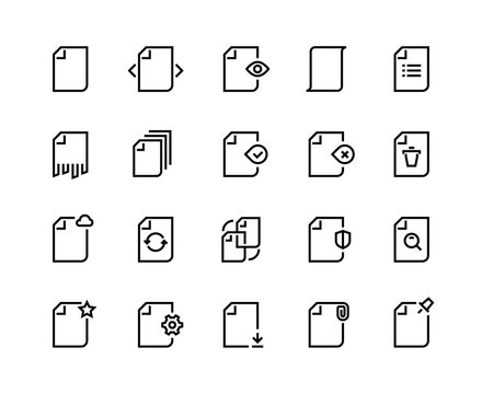 Documents line icons. Business paper file record data process search time update action work batch. Business document vector set
